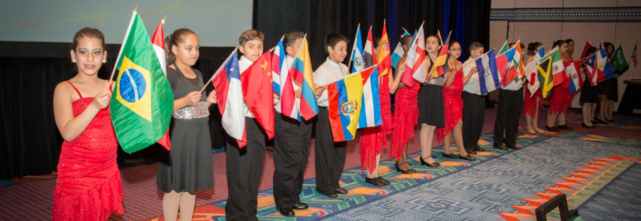 NABE students with flags